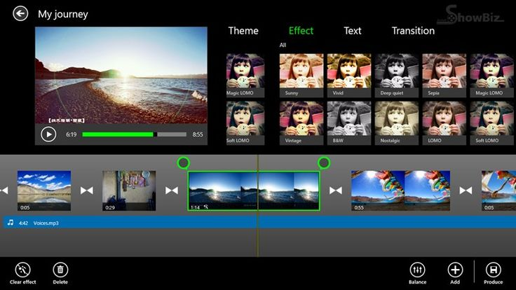 ArcSoft Showbiz // In just a few taps, create a stunning personalized movie using your own video, photo and music clips. Take advantage of professional quality themes and transitions. Share the resulting movie with friends and family.