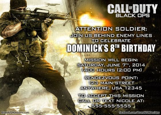 11 best call of duty party images on pinterest birthdays 13th call of duty custom birthday invitation filmwisefo