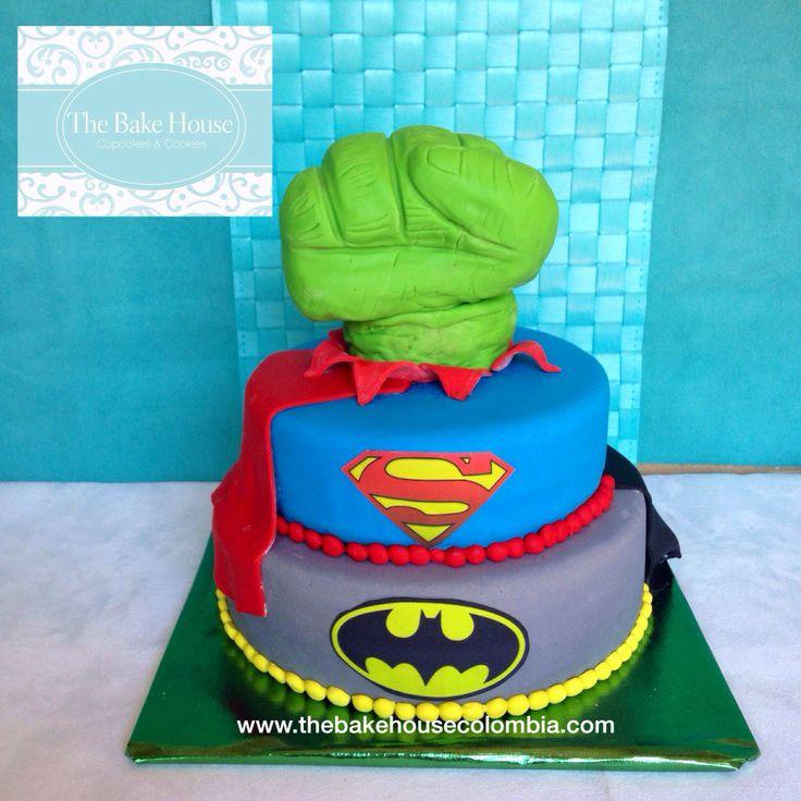Superhero Cake! Batman, superman and hulk!