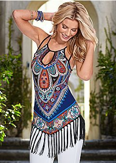 I love the print, hate the fringe. I also love the neckline and shoulders.