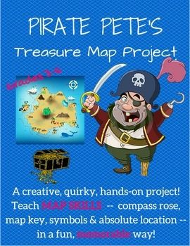"Grades 3-6. This is a map project like few others! A fun, quirky way to allow students to demonstrate cartography and map reading skills, let ""Pirate Pete"" guide your students through a culminating project about fundamental map skills: absolute location, the compass rose, the map key (or legend), and map symbols. The twist, of course, is that students must create their own treasure map, as instructed by Pirate Pete. See the full preview before you buy!"