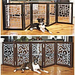 D95110 BK 3P GIR - Dog Beds, Dog Harnesses and Collars, Dog Clothes and Gifts for Dog Lovers | In The Company Of Dogs |  24 Inch High Wood-Steel Pet Gate