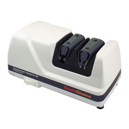 Chef's Choice 320 Two-Stage Electric Pull-Through Diamond Knife Sharpener - Keeping knives sharp is a serious business. A sharp knife causes fewer injuries, as it requires less force to cut through food, and will slip off the side into hands less easily. So keep yours spic and span with a sharpener from Chef's Choice.