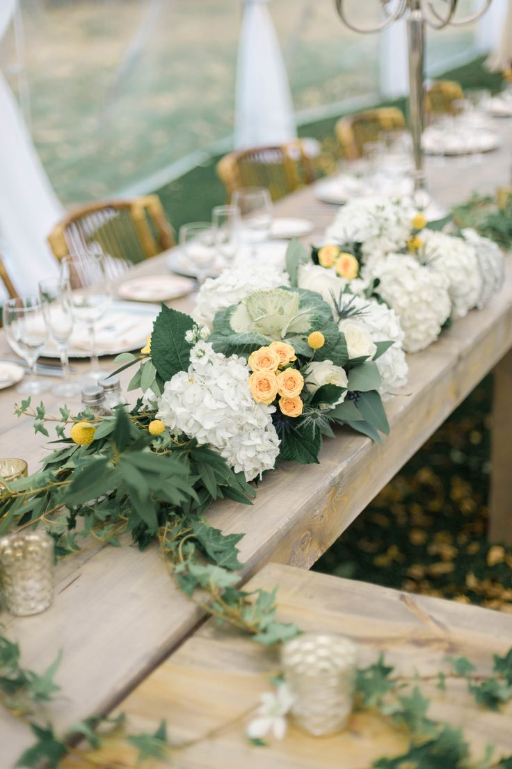Centerpiece with white Hydrangea, Cabbage, and Roses -- Photography: Emily Steffen Photography - emilysteffen.com | Intimate Autumn Wedding With Rustic Details #autumnwedding #intimatewedding