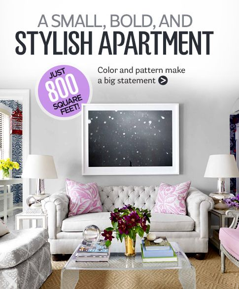 Pretty feminine small space apartment tips.