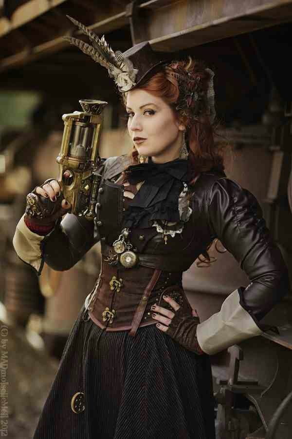 Inspirerande steampunk-kläder. (Reminds me of Emily from the Steampunk Chronicles by Kady Cross)
