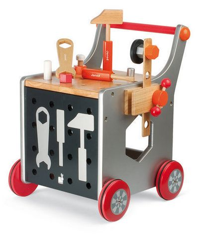 This Janod DIY workshop Tools and Trolly will provide hours of entertainment. The tool kit trolley consists of 20 building accessories, 3 magnetic tools, a vice and trolley. The trolley has a magnetic board for storing the magnetic tools and sturdy rubber