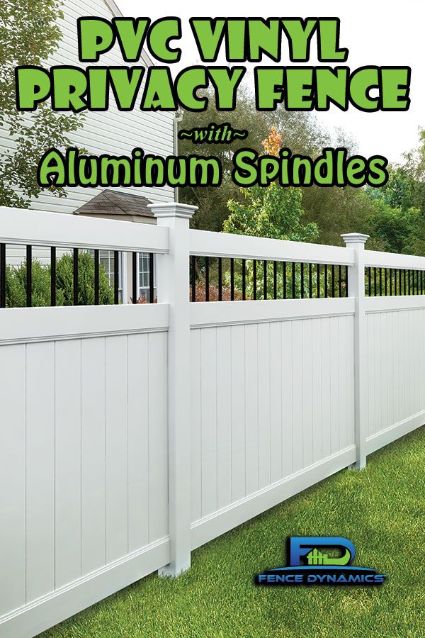 """When you need a privacy fence but want to add a little zing, this style with 3/4"""" aluminum spindles over PVC vinyl panels is a great way to go. Call Fence Dynamics at 941-697-4448 to request a free quote for this or many other styles for your property."""