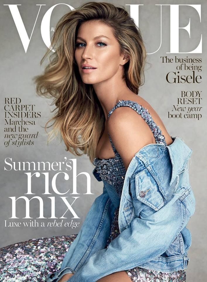 Landing the January 2015 cover of Vogue Australia, Gisele Bundchen mixes haute couture from Chanel nonetheless with a vintage denim jacket. Fashion photogr