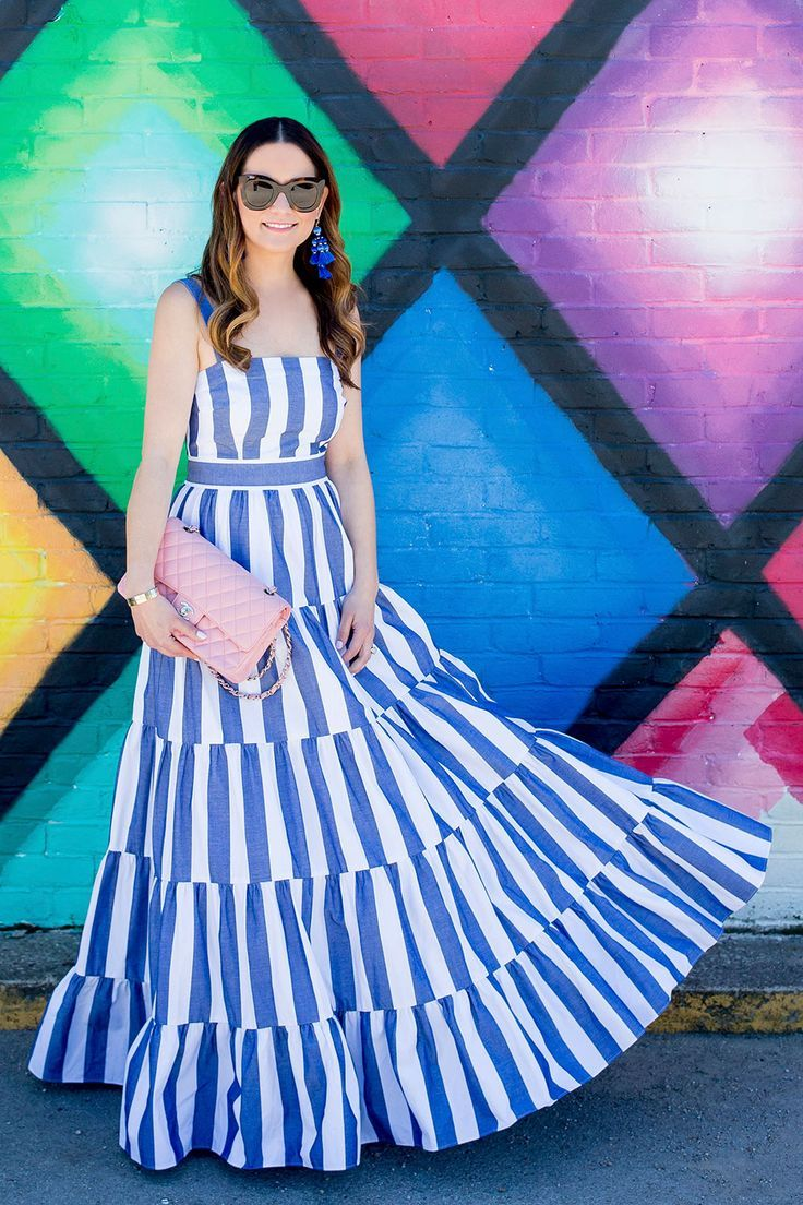 Blue Stripe Tiered Maxi Sundress Striped Dress Summer Fashion Dresses Fashion Dresses Casual [ 1104 x 736 Pixel ]