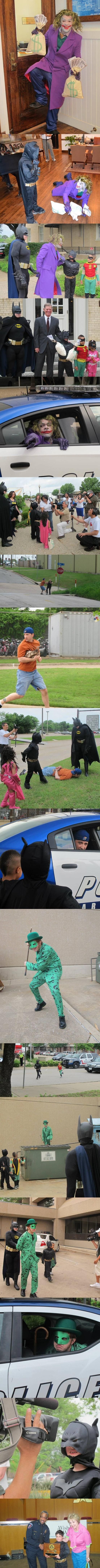7 year old Kyle has leukemia and one wish. That wish? To be Batman. The local police helped him out with this wish.