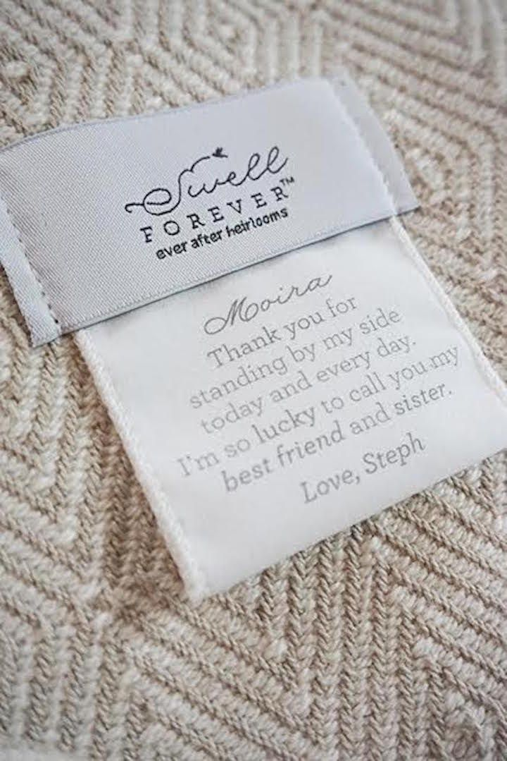 Featured: Swell Forever; Cozy personalized blanket bridesmaid gift idea;