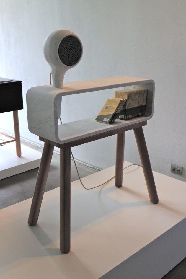 Echo, libreria con speaker bluetooth in marmo