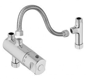 Zur nachträglichen Eckventil Montage als Verbrühschutz ist dieses Thermostat mit Anschlußset gedacht. Das Thermostat ist geeignet zur Kombination mit handelsüblichen, hydraulischen Durchlauferhitzern.