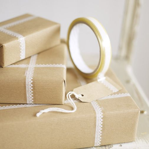 Lace Sticky Tape at Cox & Cox.: Lace Tape, Kraft Paper, Brown Paper, Sticky Tape, Lace Sticky, Gifts Wraps, Washi Tape, Wraps Ideas, Packaging Ideas