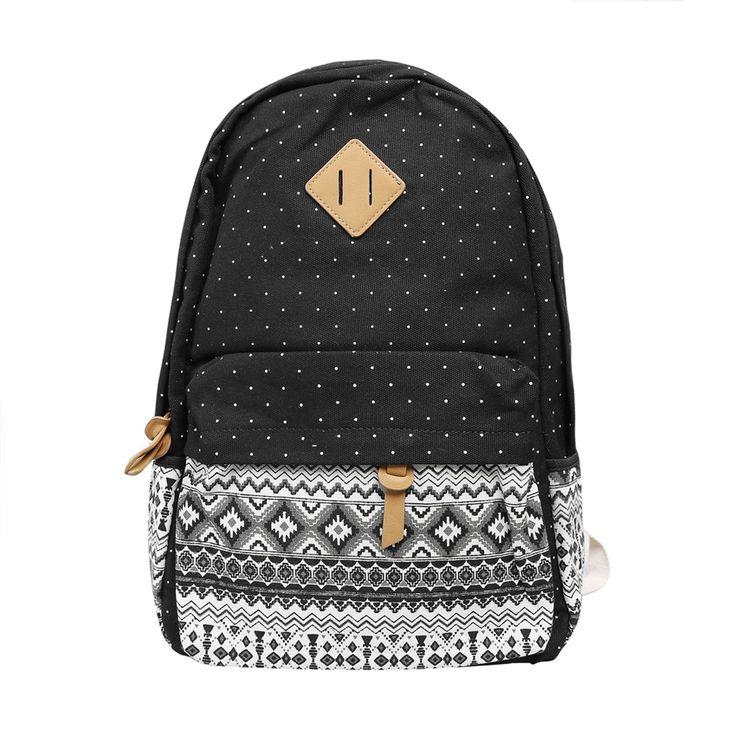 New Ladies Girls Canvas Vintage Backpack Rucksack College Shoulder School Bag (Black and White) (Intl) | Lazada Singapore