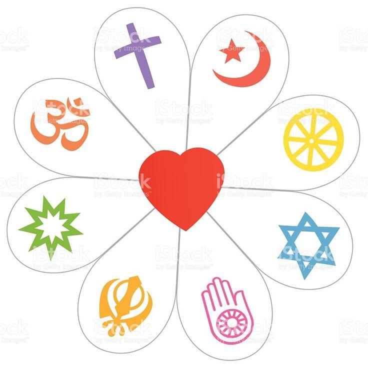 Религии мира цветок Символ сердца Сток Вектор Стоковая фотография