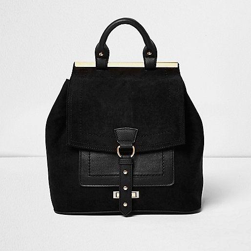 Black buckle front panel backpack - backpacks - bags / purses - women