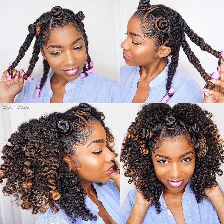CurlDaze natural hair Bantu knots twist out