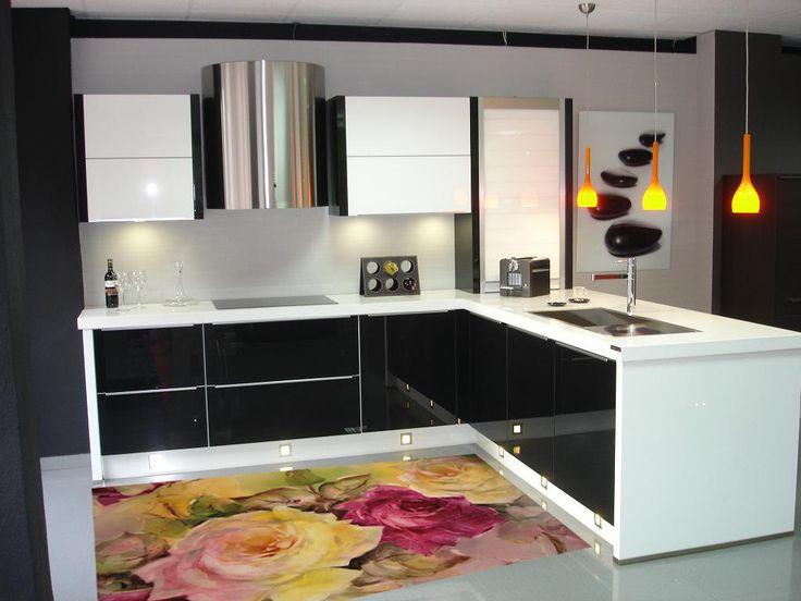 Kitchen rug -  model retro flower - suitable for kitchen, bathroom, entrance, garden  / kitchen floor mat / kitchen mat by Printip on Etsy