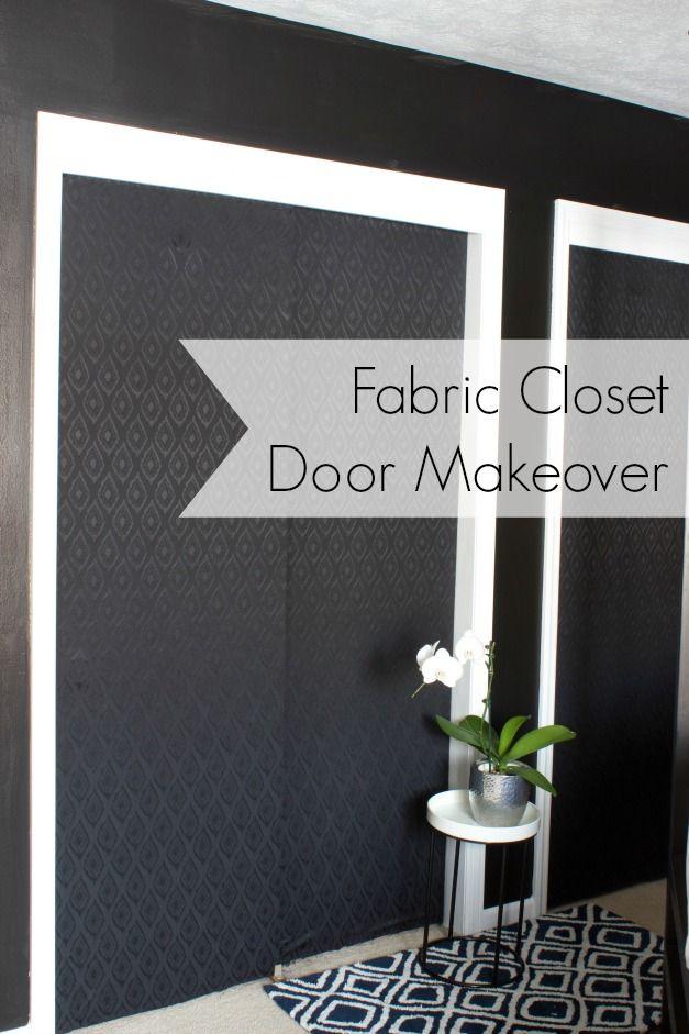 CLOSET DOOR MAKEOVER WITH FABRIC