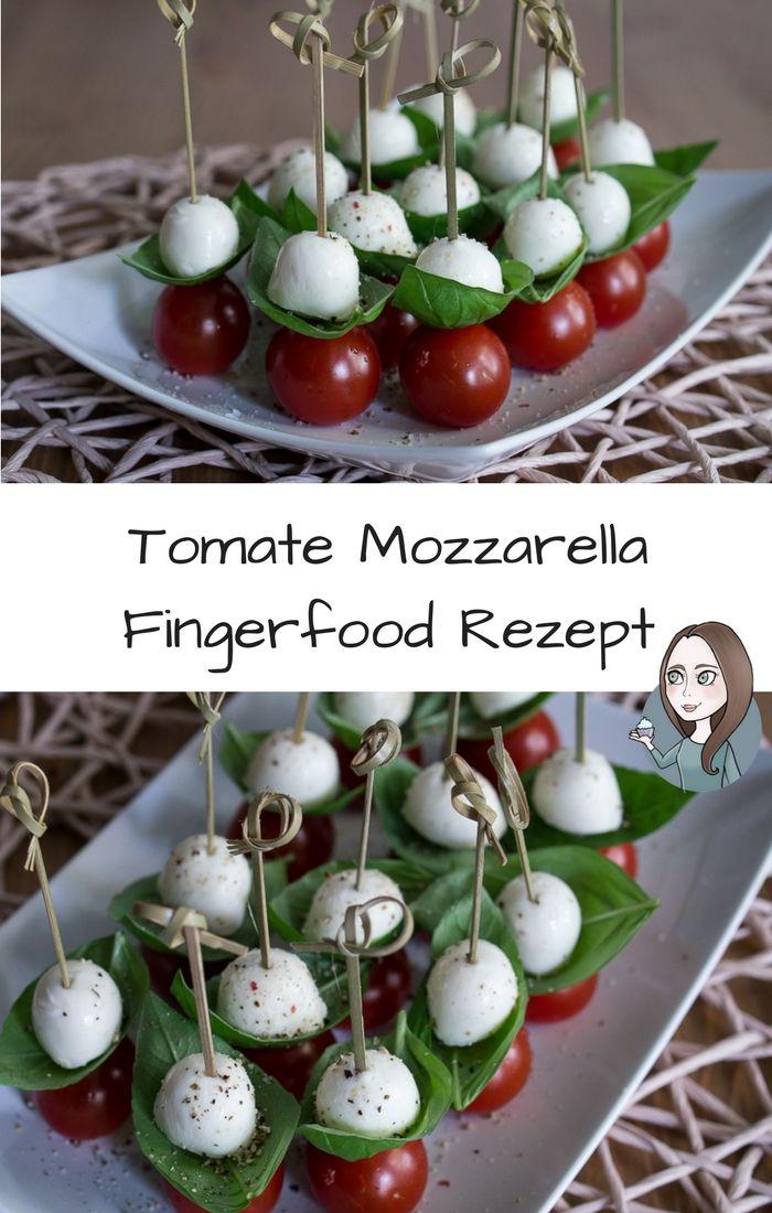 Tomate Mozzarella Haeppchen Fingerfood Rezept Spiesse einfach schnell wenig Zutaten Party vegetarisch glutenfrei