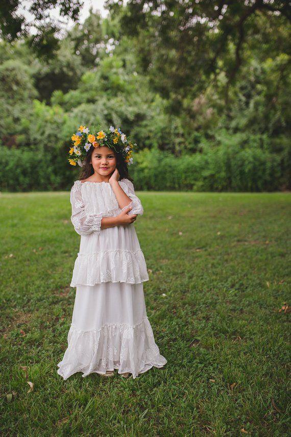 498dcb8f5e7 White Shabby Tween Flower Girl Ruffle Dress Long Sleeves Boho Chic Girls  Toddler Embroidered Chiffon Maxi Dress Mirabelle