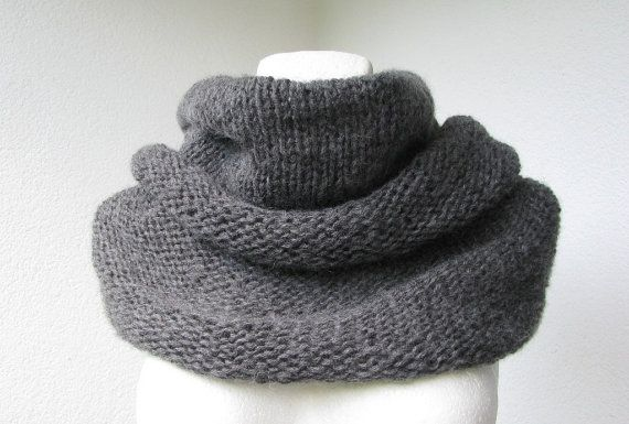 Dark gray knitted angora cowl reversible cowl capelet by delectare