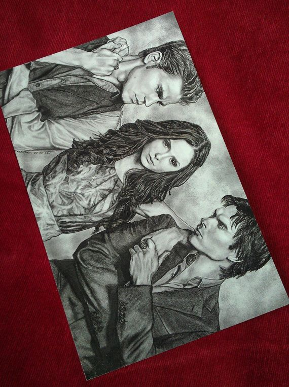 Vampire Diaries Gloss coated printed post card. Graphite and ink drawings by artist Kate Perchard.