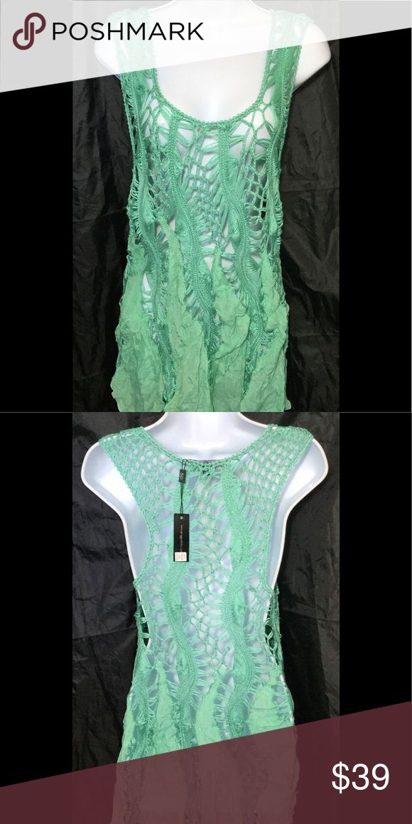 Spiaggia Dolce sea foam green crochet cover-up Spiaggia Dolce sea foam green crochet tunic cover-up dress, size S/M, pullover, sleeves, new. spiaggia Dolce Swim Coverups