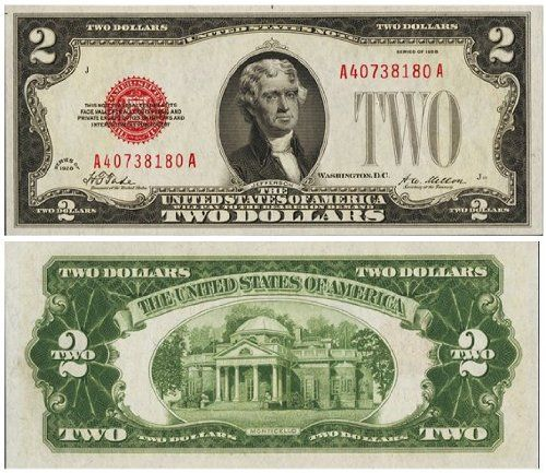 Series 1928 Big Red Seal ($2) Two Dol...