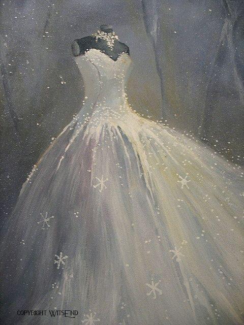 SnowQueen Gown painting original ooak Ballet winter by 4WitsEnd