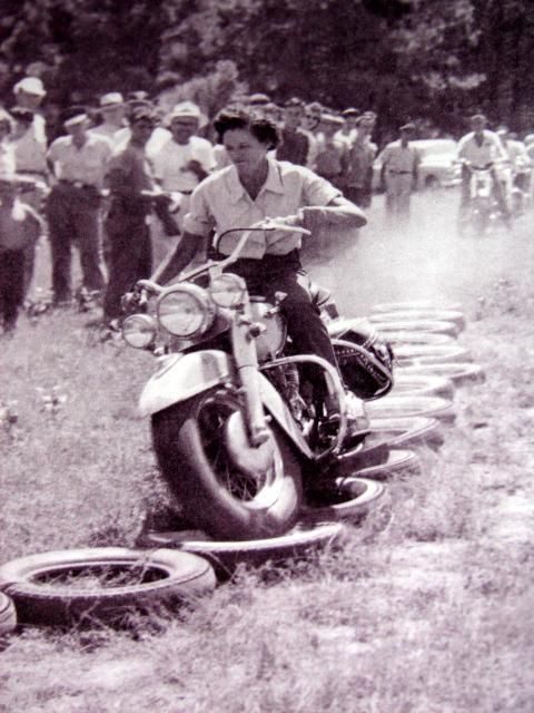 "Bad Ass!  You call this "" Field Events"". Usually held at weekend motorcycle rallys and gatherings. Riders compete for trophies based on skill in different events. Seeing a woman rider in this early photo certainly is a rarity. I rode field events, but was in the late 70's, even then not a lot of us. @AnnaxPanda"