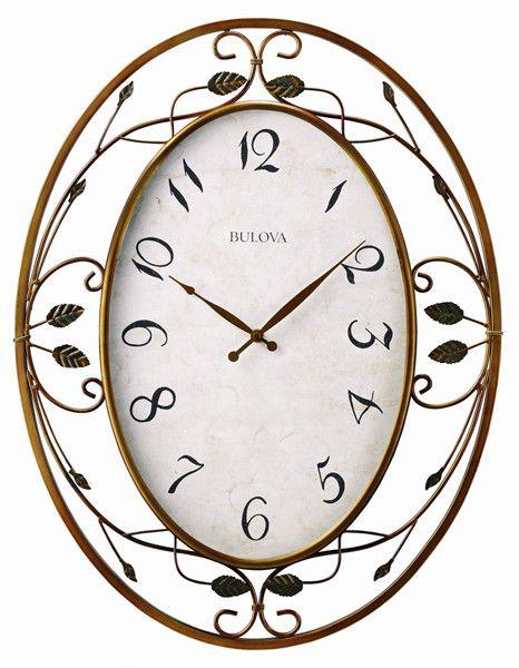 bulova laurel large decorative wall clock vine design bronzetone finish