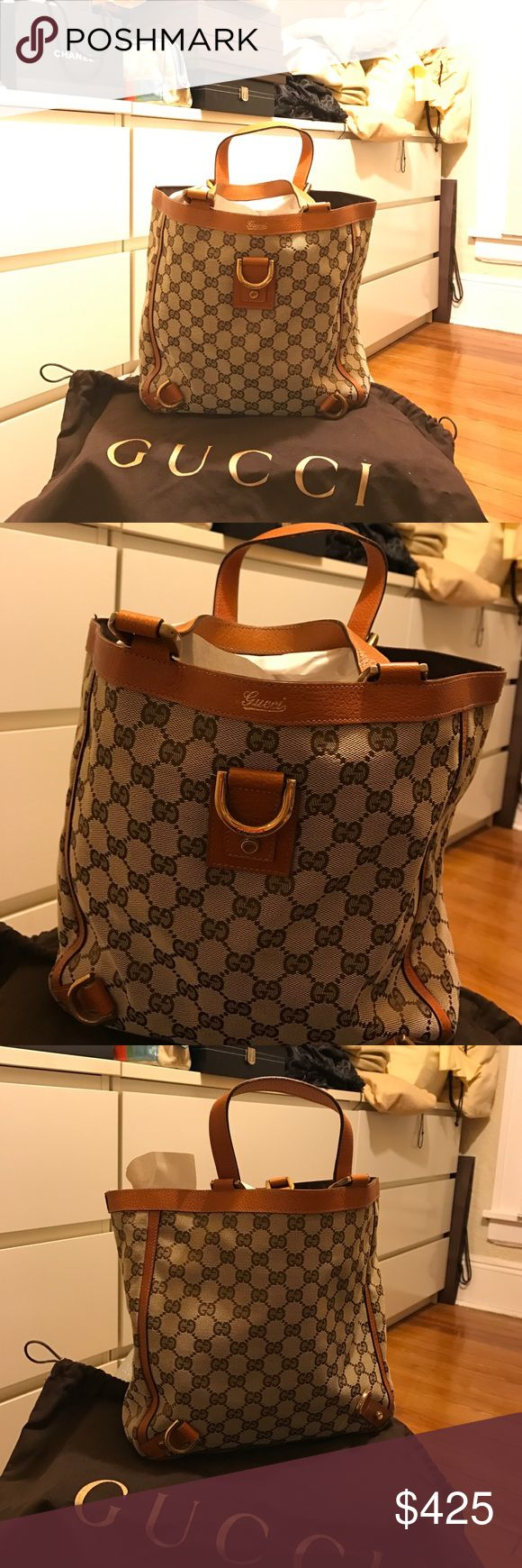 GUCCI Monogram Abbey Small Tote Brown Beautiful GUCCI Monogram Abbey Small Tote Brown          I still have the original dust bag and shopping bag! Gucci Bags Totes