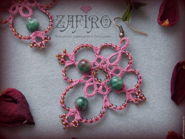 """Купить Кружевные серьги """"Розалина"""" фриволите, бисер, турмалин - брусничный, лиловый, розовый, зелены бусина"""