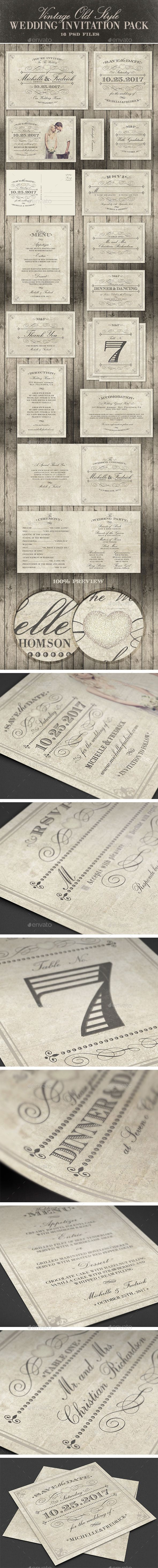 wedding reception directions card%0A Old style wedding invitation pack   vintage Visit and download here https