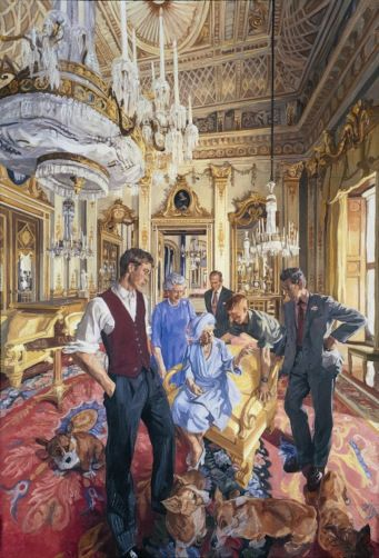 therphmqueen:  'Royal Family' for the National Portrait Gallery 2000 by John Wonnacott-Queen Elizabeth the Queen Mother surrounded by Prince William, Prince Harry, Prince of Wales, Queen Elizabeth, Duke of Edinburgh and corgis