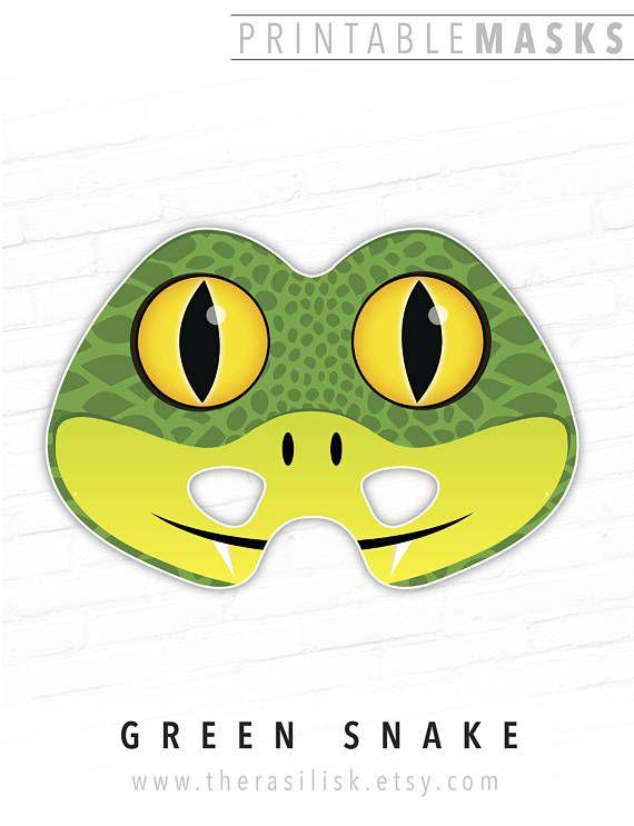 Green Snake Printable Mask Animal Mask Halloween Mask Photo