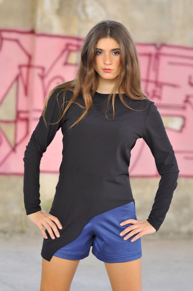 Asymmetric black top by MagdaleneD on Etsy https://www.etsy.com/listing/250630583/asymmetric-black-top