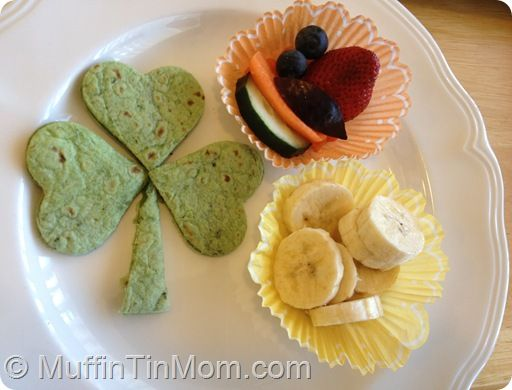 St. Patrick's Day lunch for kids with Shamrock quesadilla