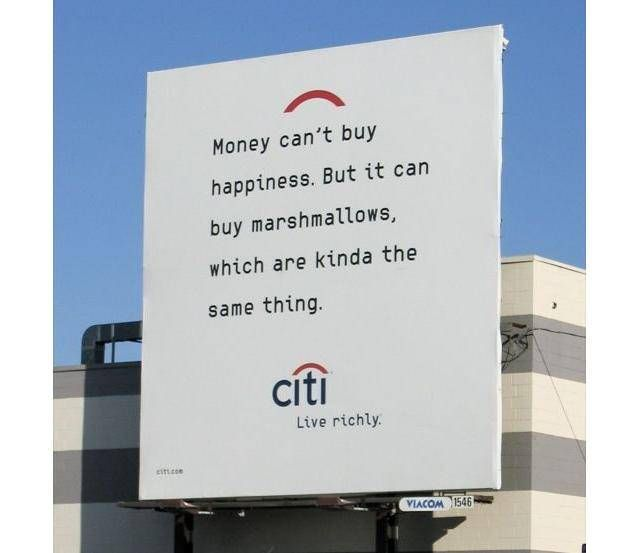 """Every now and then, it's okay to focus on something besides money"". Tags: Citi Bank ad ..."