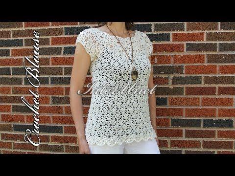 White jasmine blouse – crochet summer top - YouTube