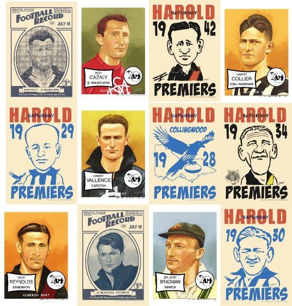 THE Sportsmen OF OZ Bunton Bradman Dyer Cazaly Pratt Footy AFL VFL 17 Card SET | eBay