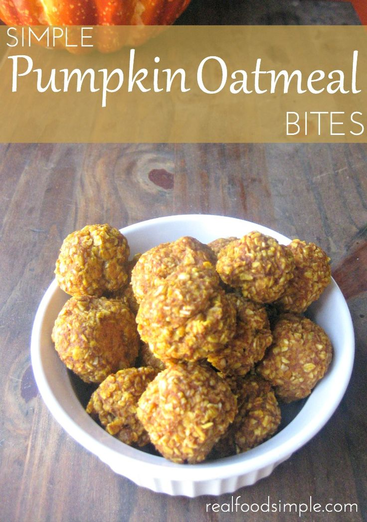 Simple Pumpkin Oatmeal Bites--This is my very first pumpkin pin of the season, and it's giving me the giddies!