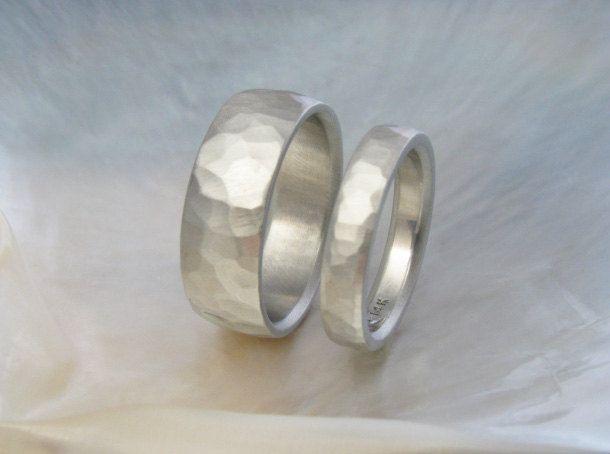 hammered white gold wedding bands wedding ring by RavensRefuge