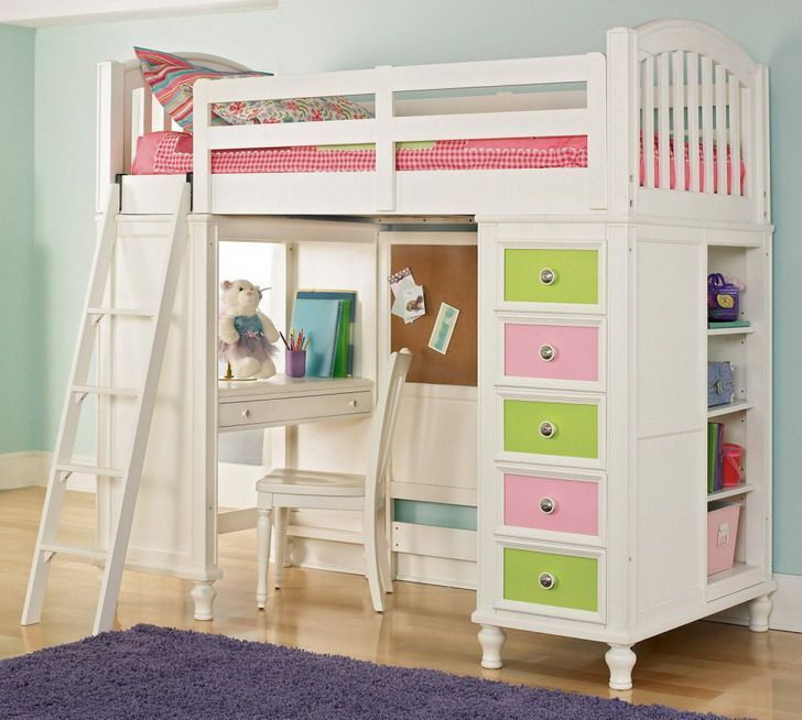Cool White Teenage Girls Loft Bed Design With Amazing Bunk Study Desk Colorful Drawer Unit And Closet Underneath Girls Loft Bed Twin Loft Bed Bunk Bed Designs