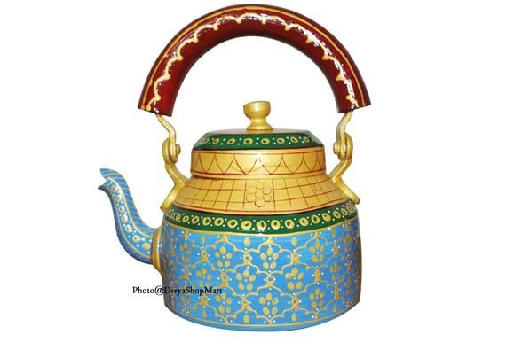 Hand Painted Traditional Colourful Decorative Tea Kettle 6 Decorative Showpiece Aluminium Multicolour Pack 6 PCS Indian Handmade Gift Item