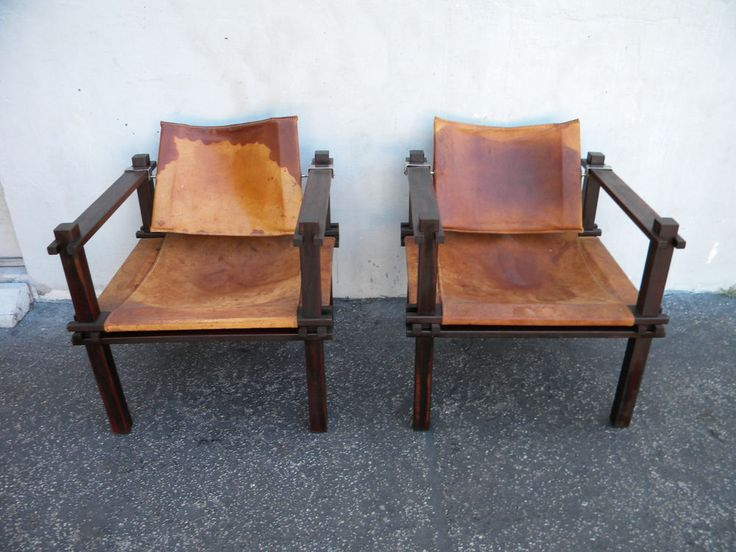 PAIR OF VINTAGE MID CENTURY MODERN LEATHER SIDE BY SIDE CHAIRS