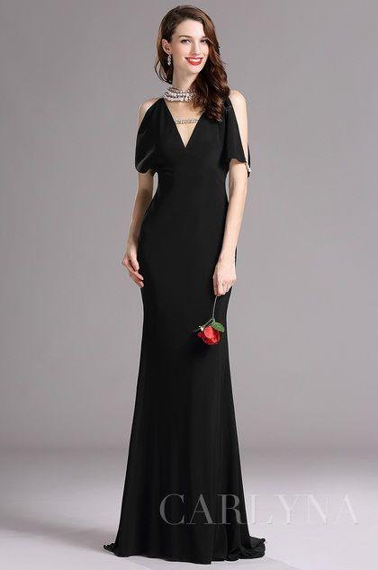 Carlyna Black V Neck Beaded Mermaid Formal Evening Dress (E60700)